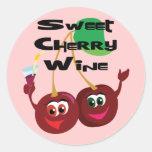 Vino de la cereza dulce pegatinas redondas