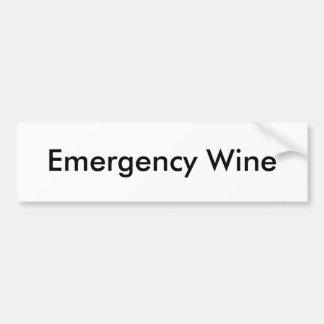 Vino de la emergencia etiqueta de parachoque