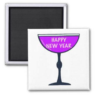 Vino de la Feliz Año Nuevo Imán Cuadrado