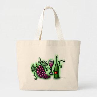 Vino de las uvas n bolsa de tela grande