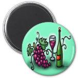 Vino de las uvas n imán de frigorífico