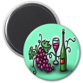 Vino de las uvas n imán redondo 5 cm