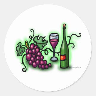 Vino de las uvas n pegatina