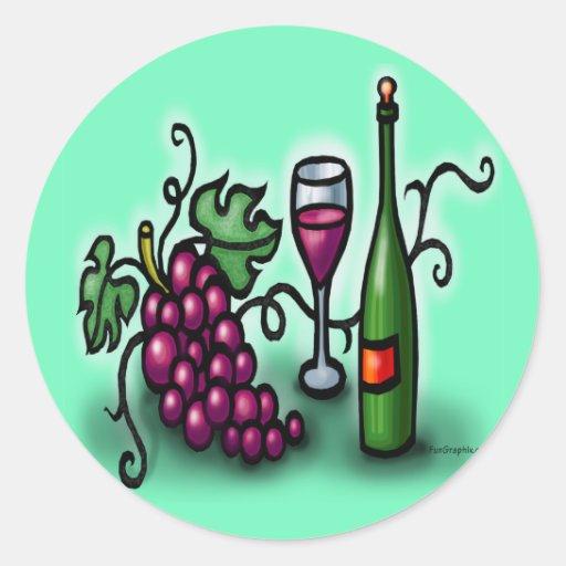 Vino de las uvas n pegatina redonda