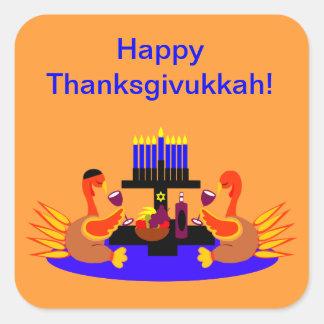 Vino de los pegatinas de Thanksgivukkah que tuesta Calcomanías Cuadradas Personalizadas