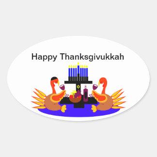 Vino de Thanksgivukkah que tuesta pavos Pegatina Ovalada