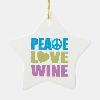 Vino del amor de la paz adorno navideño de cerámica en forma de estrella