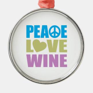 Vino del amor de la paz adorno navideño redondo de metal