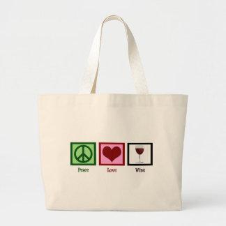 Vino del amor de la paz bolsa de tela grande