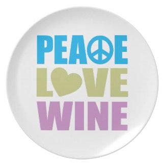 Vino del amor de la paz platos