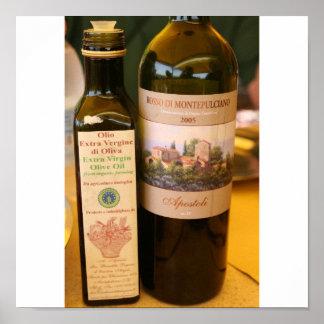 vino del d'oliva e de la ensaladilla posters