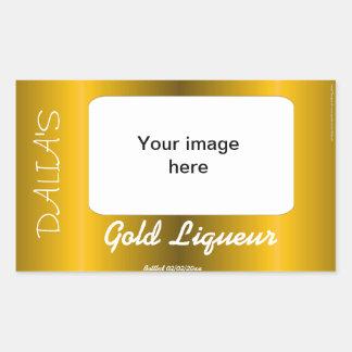 Vino del satén del oro cordial y etiqueta del