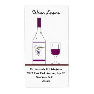 """VINO ELEGANTE LABEL_ """" amante del vino"""" _BOTTLE/GL Etiquetas De Envío"""