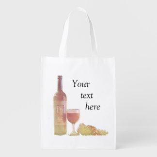 Vino en colores pastel de encargo bolsas reutilizables