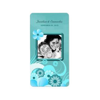 Vino floral azul del favor de la foto del boda del etiquetas de dirección
