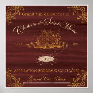 Vino francés LabelArt: Burdeos Póster