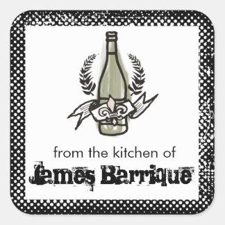 Vino hecho en casa del color del viñedo francés de pegatina cuadrada