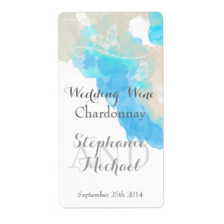 Vino Labe del boda de la orilla del océano de la Etiquetas De Envío