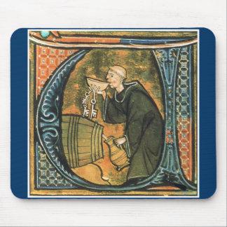 Vino medieval Mousepad de la prueba del monje Tapetes De Raton