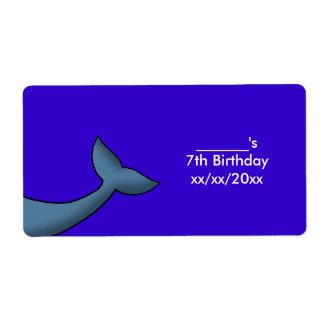 Vino o botella de agua de la cola de la ballena etiqueta de envío