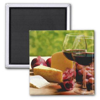 Vino, queso y fruta del campo iman de frigorífico