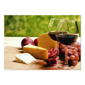 Vino, queso y fruta del campo invitación 12,7 x 17,8 cm