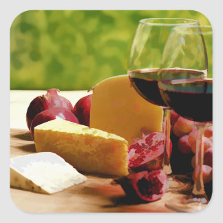 Vino, queso y fruta del campo pegatina cuadrada