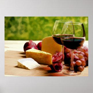 Vino, queso y fruta del campo póster
