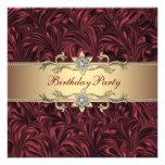 Vino rojo Borgoña y fiesta de cumpleaños del oro Anuncio Personalizado