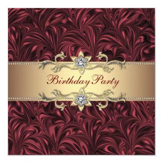 """Vino rojo Borgoña y fiesta de cumpleaños del oro Invitación 5.25"""" X 5.25"""""""