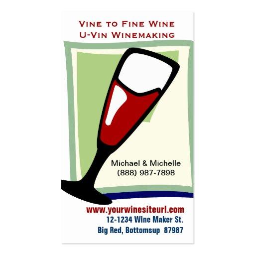 Vino rojo en la copa para U-Vin o la vinificación Tarjeta De Visita