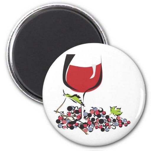 Vino rojo, rojo imán redondo 5 cm