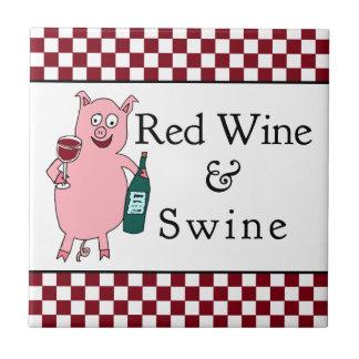 Vino rojo y cerdos azulejos cerámicos