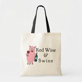 Vino rojo y cerdos bolsa tela barata