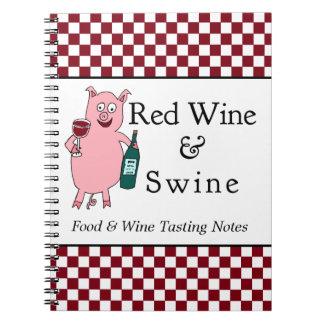 Vino rojo y cerdos libretas espirales