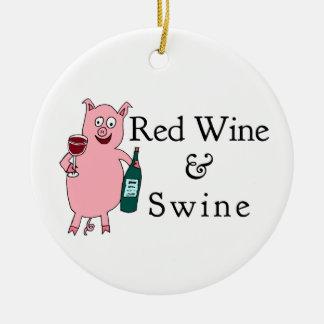 Vino rojo y cerdos adornos