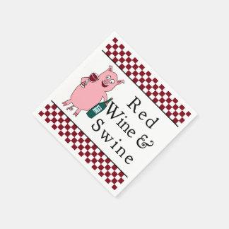 Vino rojo y cerdos servilletas de papel
