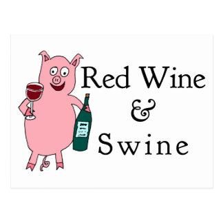 Vino rojo y cerdos postal