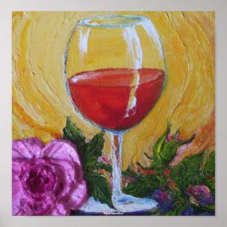 Vino rojo y poster color de rosa rosado del arte
