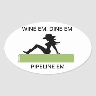 Vino, tubería de Dine& Pegatina Ovalada