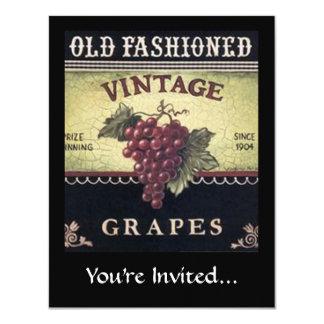 Vino viejo de las uvas del vintage de la moda, invitación 10,8 x 13,9 cm