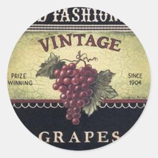 Vino viejo de las uvas del vintage de la moda, pegatina redonda