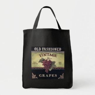 Vino viejo de las uvas del vintage de la moda, púr bolsa tela para la compra