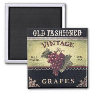 Vino viejo de las uvas del vintage de la moda, púr imán cuadrado