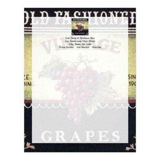 Vino viejo de las uvas del vintage de la moda, púr membrete a diseño