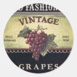 Vino viejo de las uvas del vintage de la moda, púr etiqueta redonda
