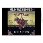 Vino viejo de las uvas del vintage de la moda, púr tarjeton