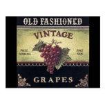 Vino viejo de las uvas del vintage de la moda, púr tarjetas postales