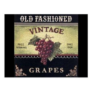 Vino viejo de las uvas del vintage de la moda púr tarjetas postales