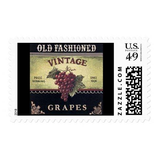 Vino viejo de las uvas del vintage de la moda, sellos postales